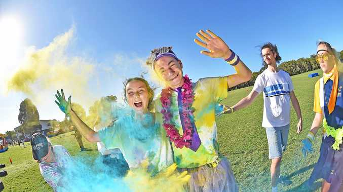 BRIGHT FUTURE: Mika Joyce-Mangschou and Jacob Cassidy at the Coolum State High School Colour Run.