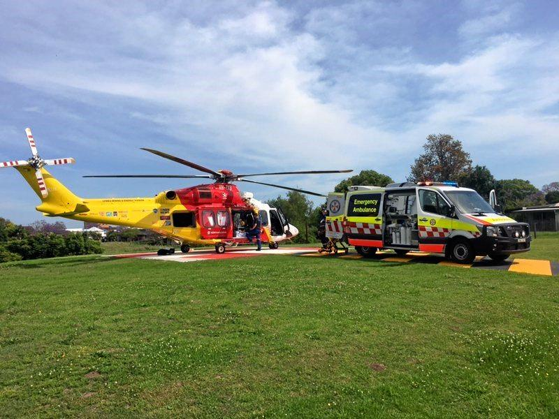 Westpac Rescue Helicopter Service medics transferred a male motorcyclist from Grafton to the Gold Coast after he was involved in a collision with a kangaroo.