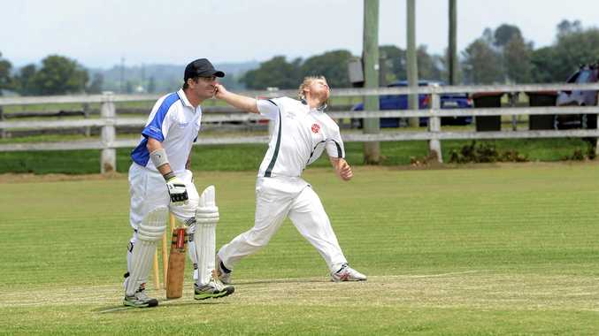 FIREBRAND: GDSC Easts seamer Shannon Connor (right) tore through the Tucabia-Copmanhurst batting line up in a scintillating spell at Ulmarra Showground.