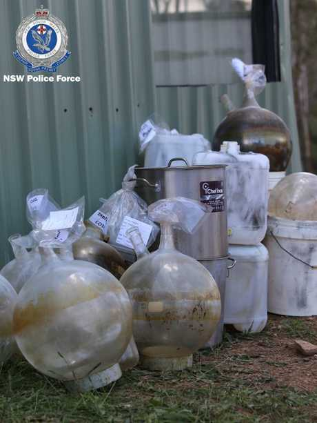 Drug paraphernalia piled up outside the lab during the raid. Picture: NSW Police