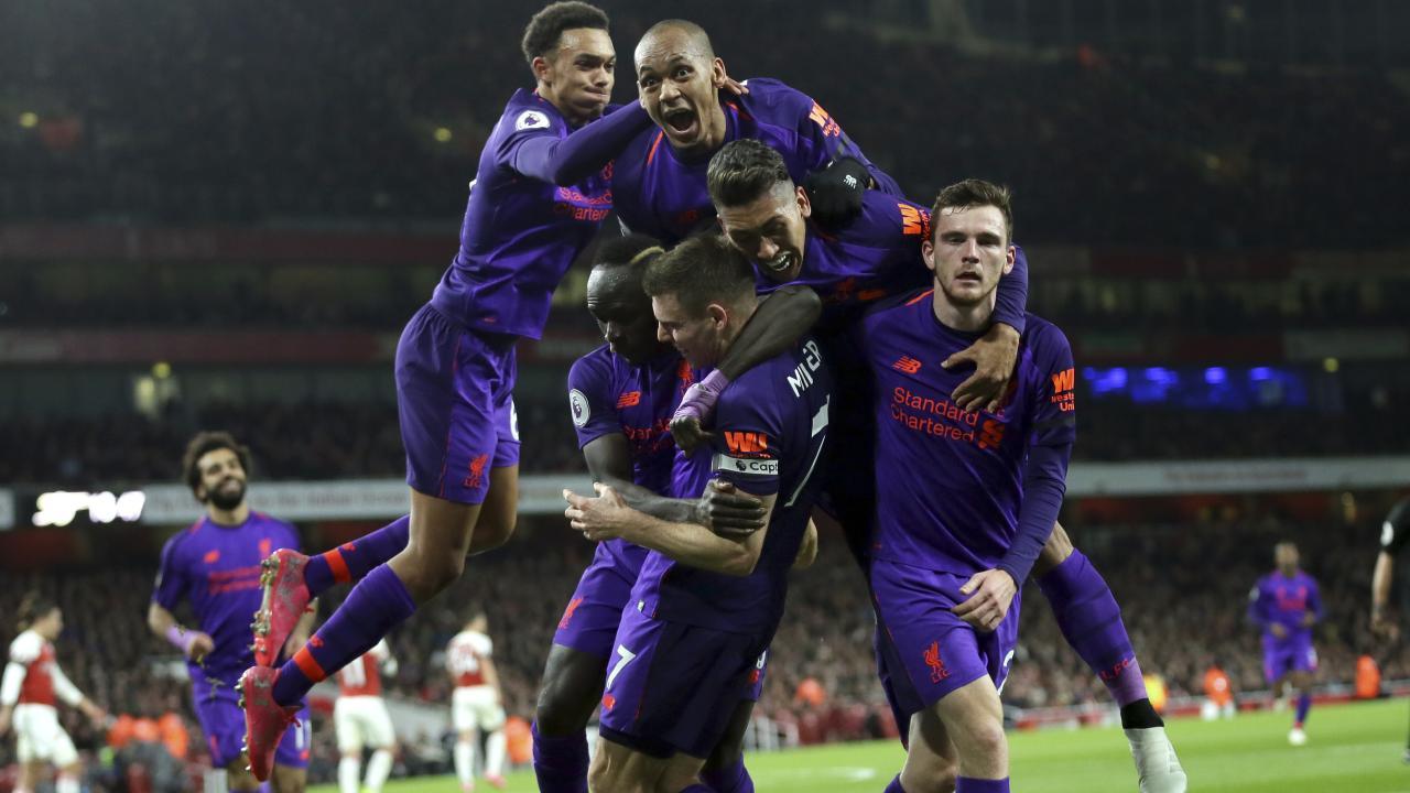 Liverpool celebrate James Milner's goal - but the lead was short lived.