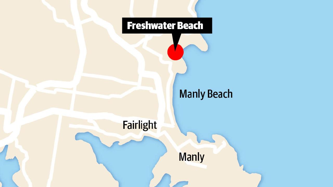 A map showing the location of Freshwater Beach.