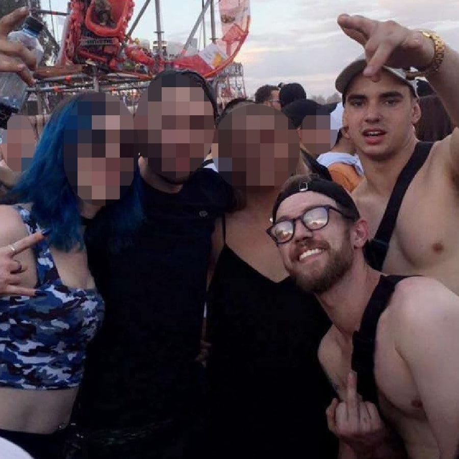 Liam Anderson (bottom right with glasses) at Defqon1 with mate Mathew Flame (top right) and other friends. Picture: Instagram