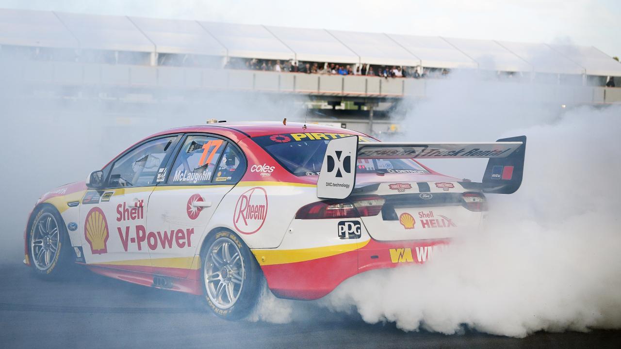 Scott McLaughlin celebrates with a burnout. Picture: Getty