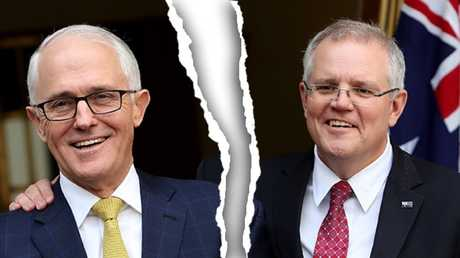 Former PM Malcolm Turnbull (left) and party-elected Prime Minister Scott Morrison.