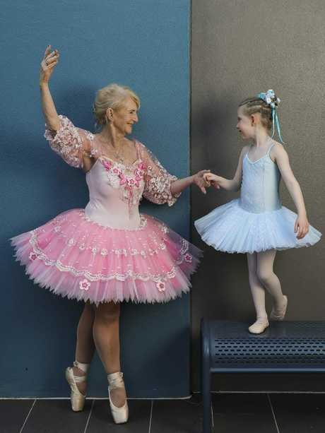Dian Wilson and her granddaughter June practice together. Picture: Mark Cranitch.