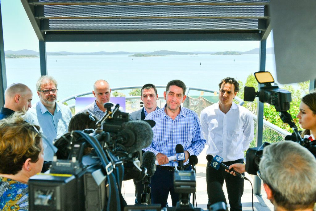 Member for Gladstone Glenn Butcher, Zac Beers, Peter Scarf and Minister for State Development, Manufacturing, Infrastructure, and Planning Cameron Dick announcing the coordinator generals approval of Hummock Hill island resort