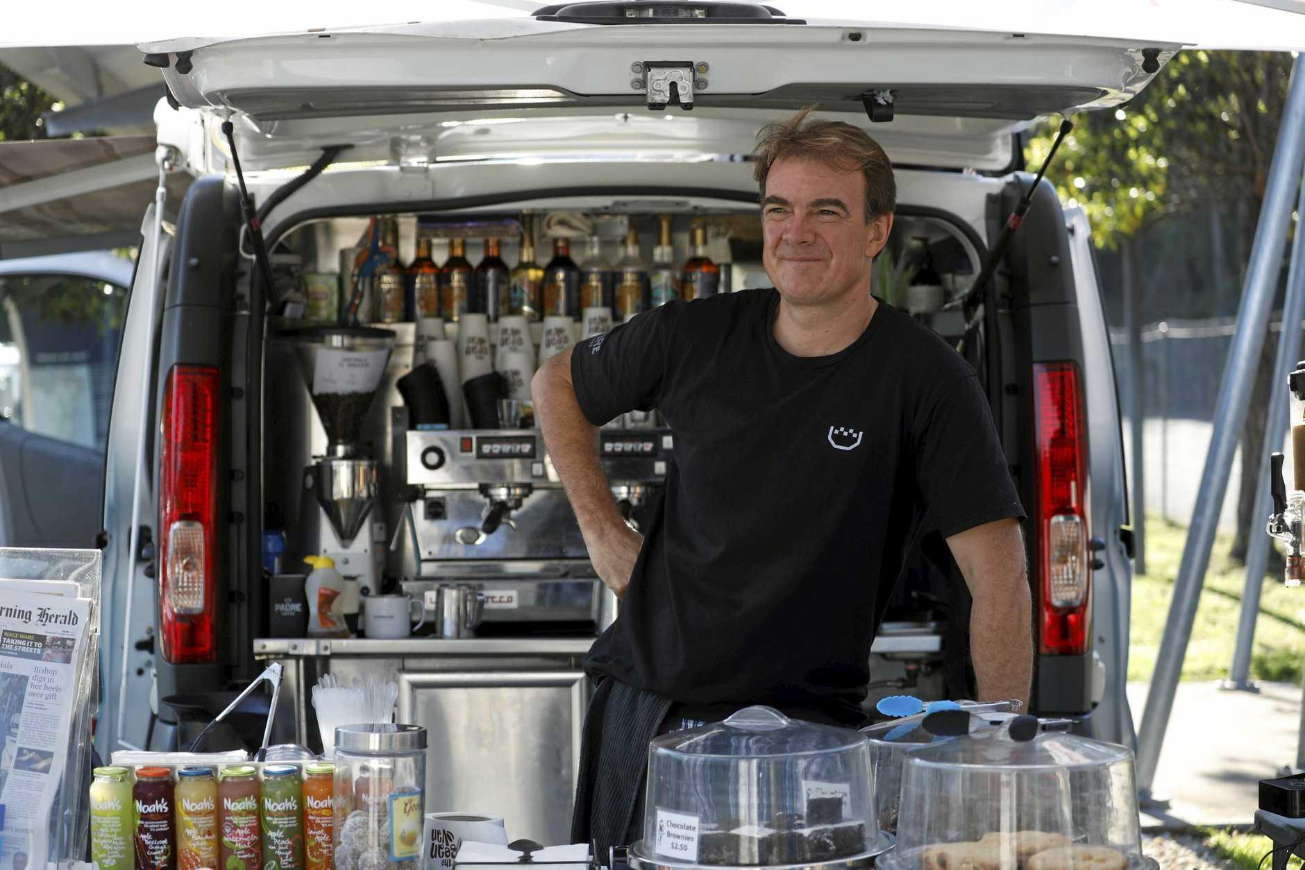David Phillips at The Bean Van at the Pacific Highway rest stop at Yelgun.