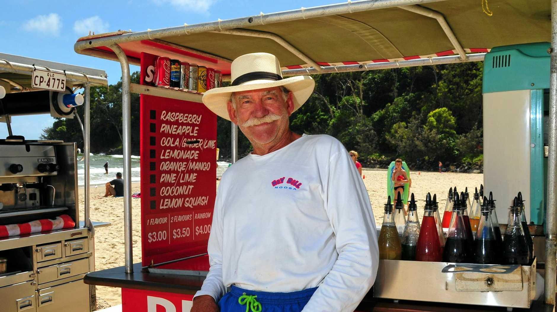 Hey Bill Watson on Main Beach Noosa hoping for a bumper Xmas Season.