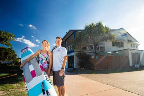 CLUB MOVE: Noosa Heads star lifesaver Jordan Mercer with her father and club head coach Darren.