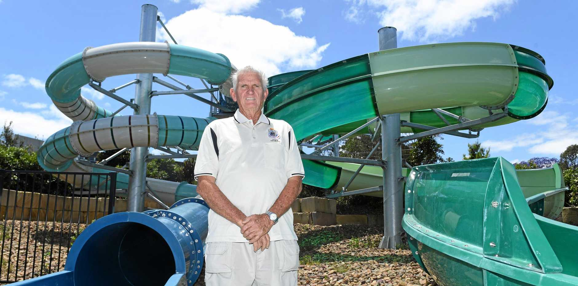 SPLASH DOWN: Jim Gordon will splash down the Gympie ARC waterslides 75 times (and do 75 push-ups) a day before his 75th birthday this weekend.