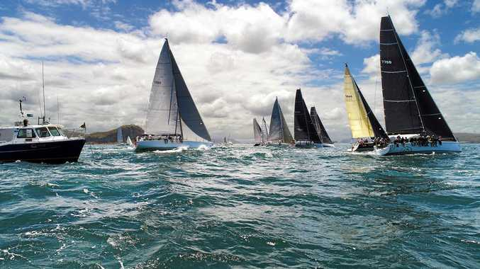 The fleet begins heading north toward Coffs Harbour in the Pantaenius Newport to Coffs Coast yacht race last year.