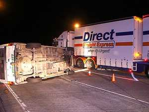 Englands Rd roundabout truck rollovers