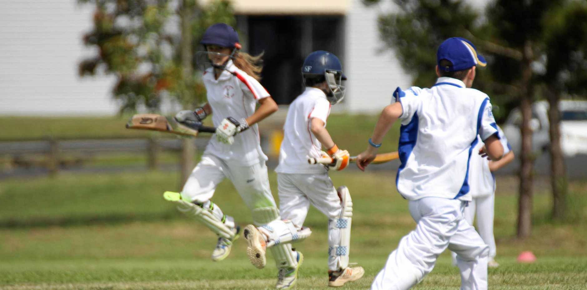 GAME ON: Junior cricketers including batters Emily Hosking, 12, and Ruben Chriss, 7, showed good skills, teamwork and sportsmanship at matches in Lismore on Saturday November 3..