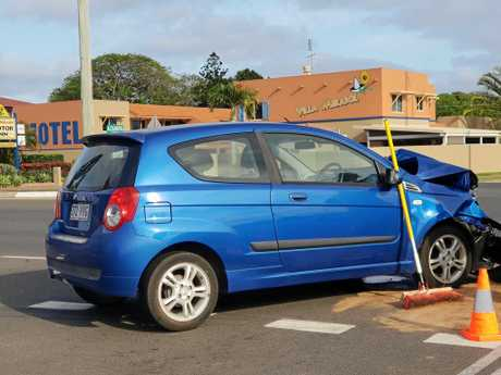 CRASH: A blue Barina has significant damage to it's front after it collided with a truck this morning.