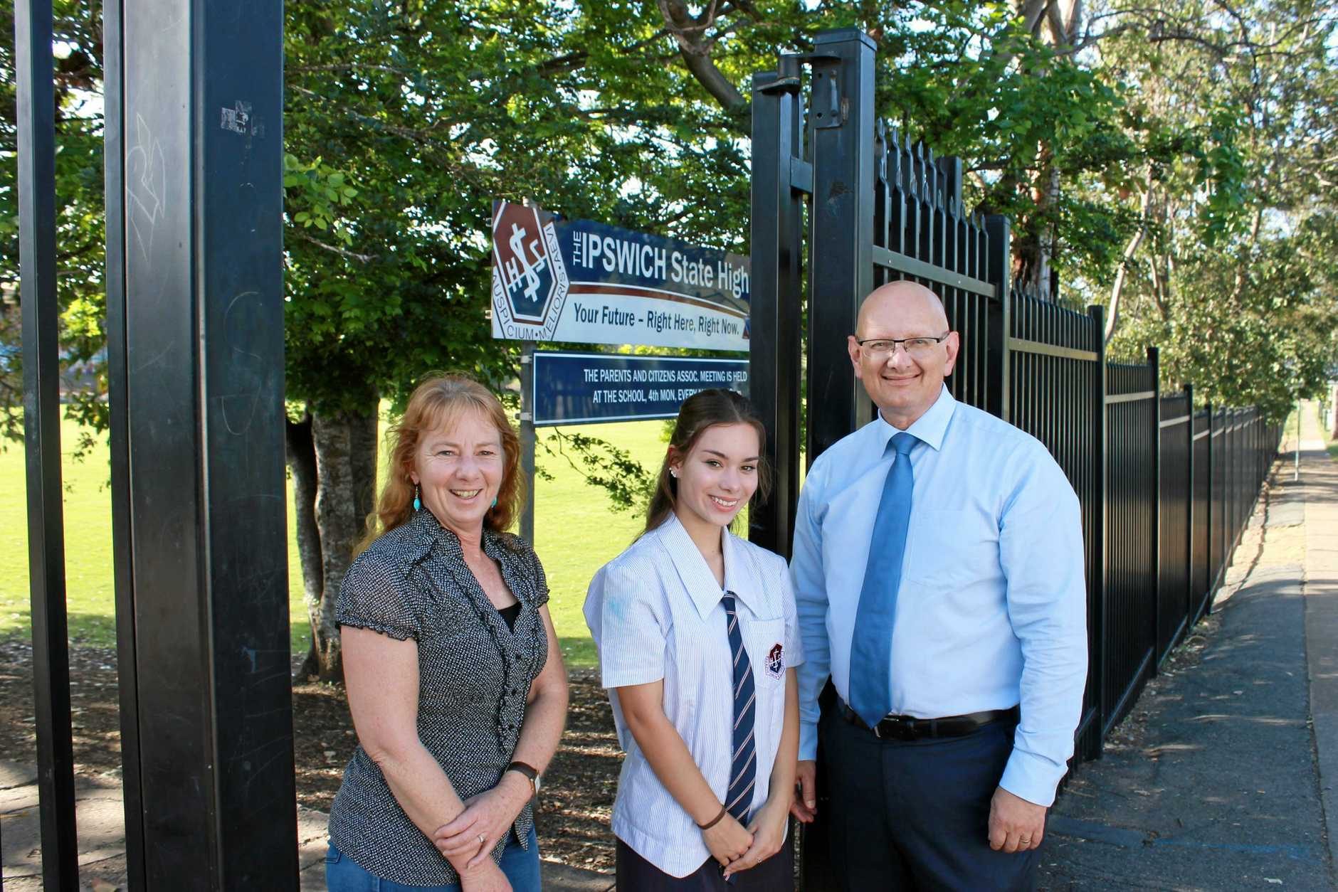 FUNDING: Blair MP Shayne Neumann with Ipswich State High School Year 11 student Abbey Kohler and her mother Karen.