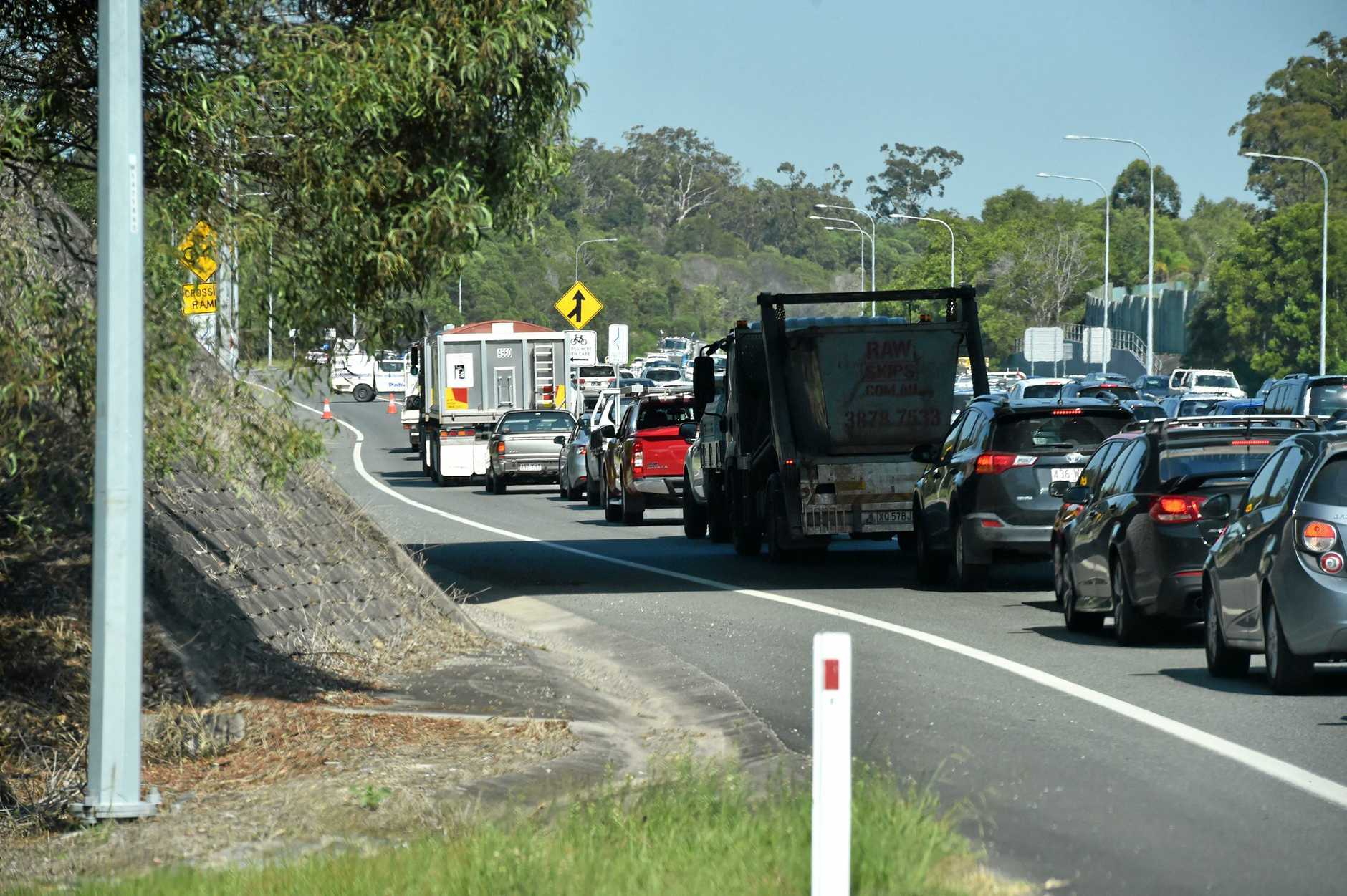 Traffic was blocked from the Caloundra Rd and Pierce Ave intersection for hours after the crash.