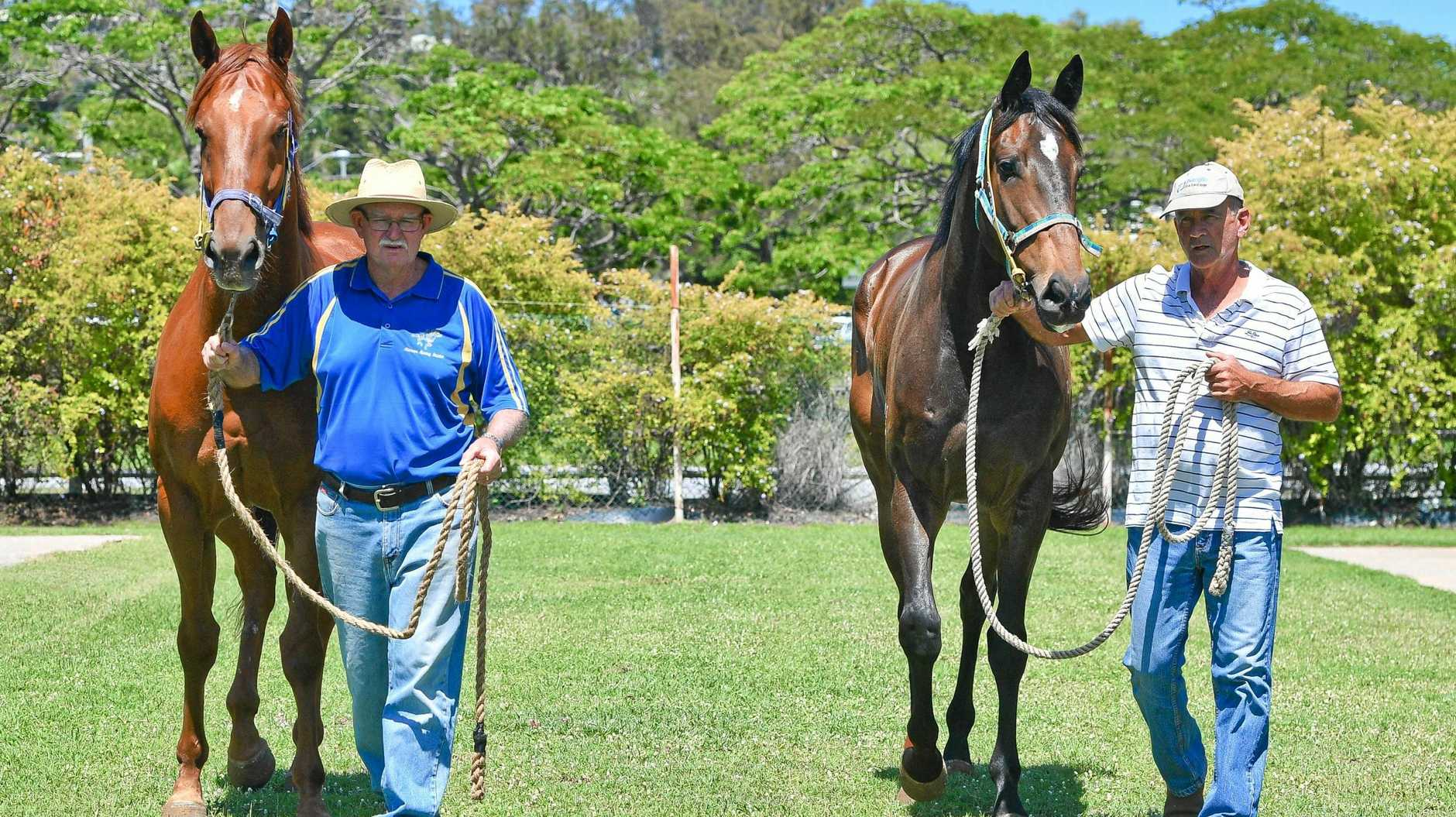 DOUBLE CHANCES: Gladstone trainer Lee Kiernan with French Outlaw and stable-mate Ian Prizeman with La Celestina as they go through their paces.