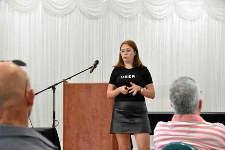 Uber operations associate Rachel McDonnell at the Gladstone Uber information session.