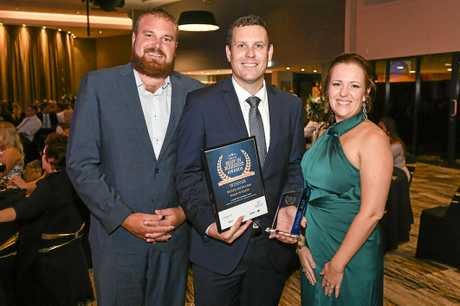 Gladstone Flooring Xtra won the Local Franchise and Retail With Less Than Ten Staff awards at the 2018 Best in Business awards. Matthew Connell, Bobby Lenz and Emma Connell.