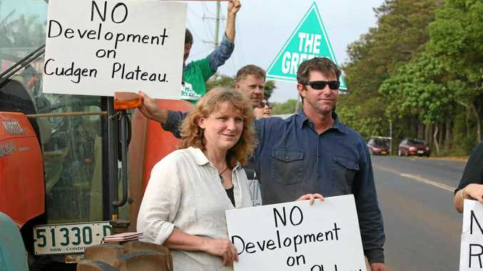 Tweed District Mayor Katie Milne and James Paddon at this mornings protest outside the site of the new Tweed Valley Hospital at Cudgen. Photo Scott Powick