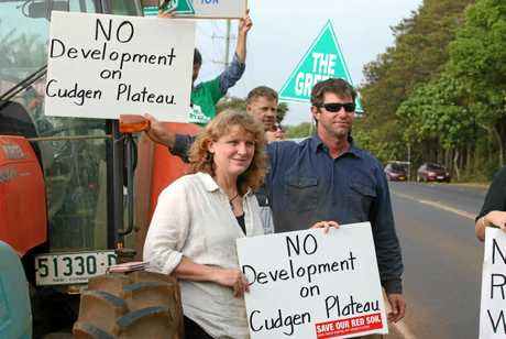 Tweed Shire Council Mayor Katie Milne at a hospital site protest on Monday.