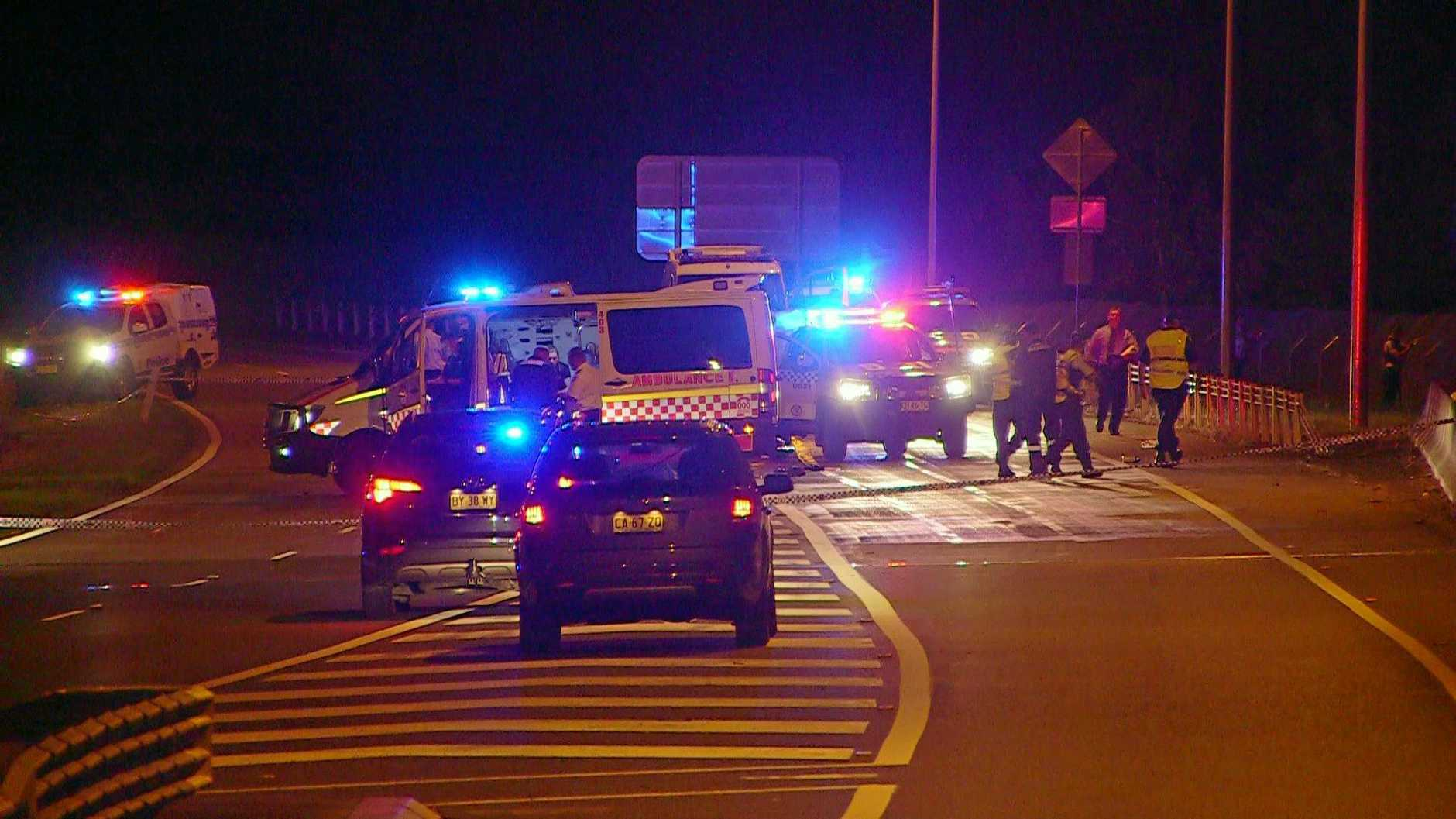 The scene where Paul Lambert was shot by police on the Pacific Highway at Bonville.