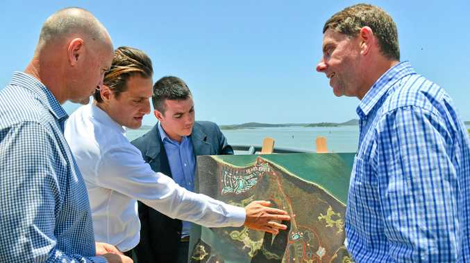 STATE NOD: Member for Gladstone Glenn Butcher, Eaton Place CEO Peter Scarf, Labor candidate for Flynn Zac Beers and Minister for State Development Cameron Dick announcing the approval of Hummock Hill Island resort.