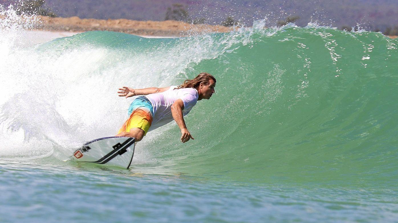 Mark Occhilupo rides the waves at Yeppoon Surf Lake
