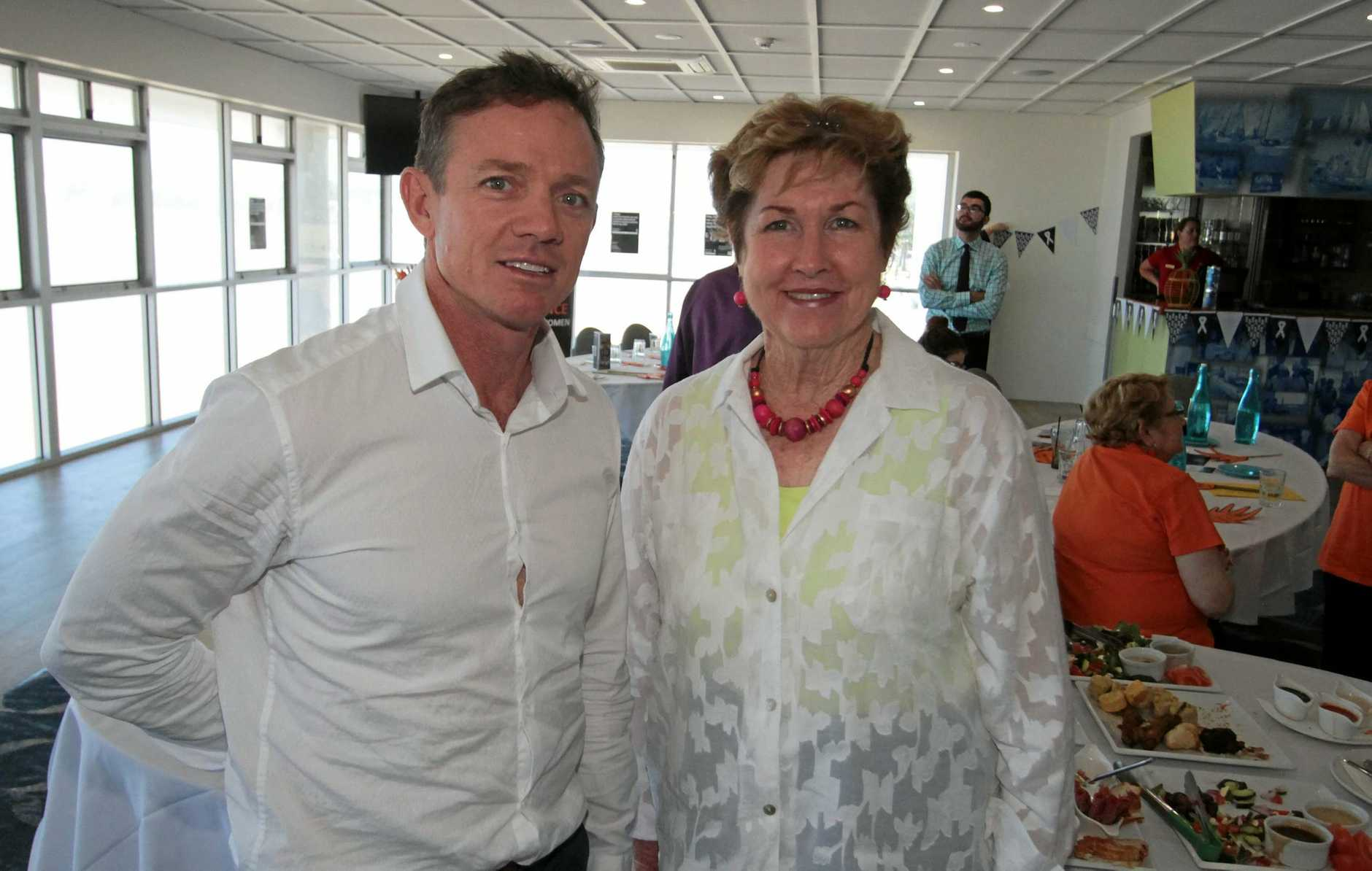 L-R Crs Adam Belot and Glenda Mather at the White Ribbon Day lunch held at the Keppel Bay Sailing Club.   Photo: Chris Ison / The Morning Bulletin