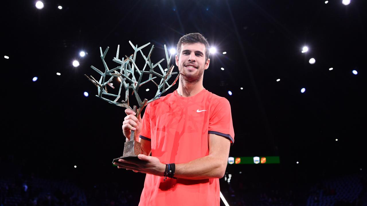 Karen Khachanov with his new Paris Masters trophy after upsetting Novak Djokovic. Picture: Getty