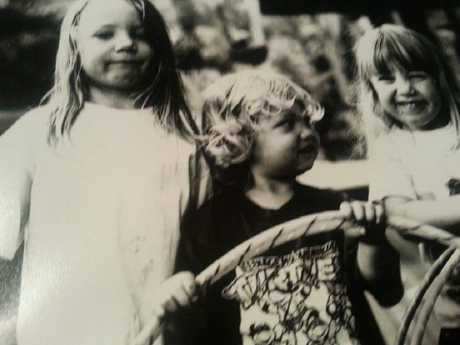 Liam Anderson (centre) with brothers Galen Anderson and Blaine Anderson as children.