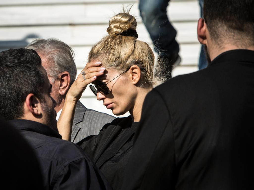 Viktoria broke down during the funeral. Picture: Angelos Christofilopoulos/News Corp Australia
