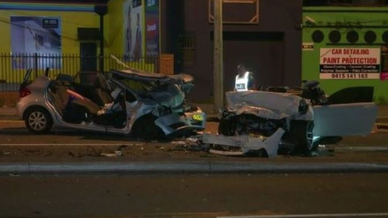 Five people are injured after a horrific crash in Gladesville last night. Source: Nine News