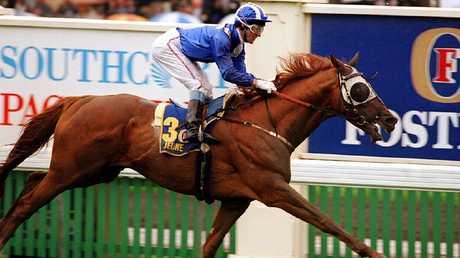 Jeune, ridden by jockey Wayne Harris, wins the 1994 Melbourne Cup.