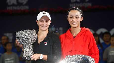 Ashleigh Barty of Australia and Wang Qiang of China.