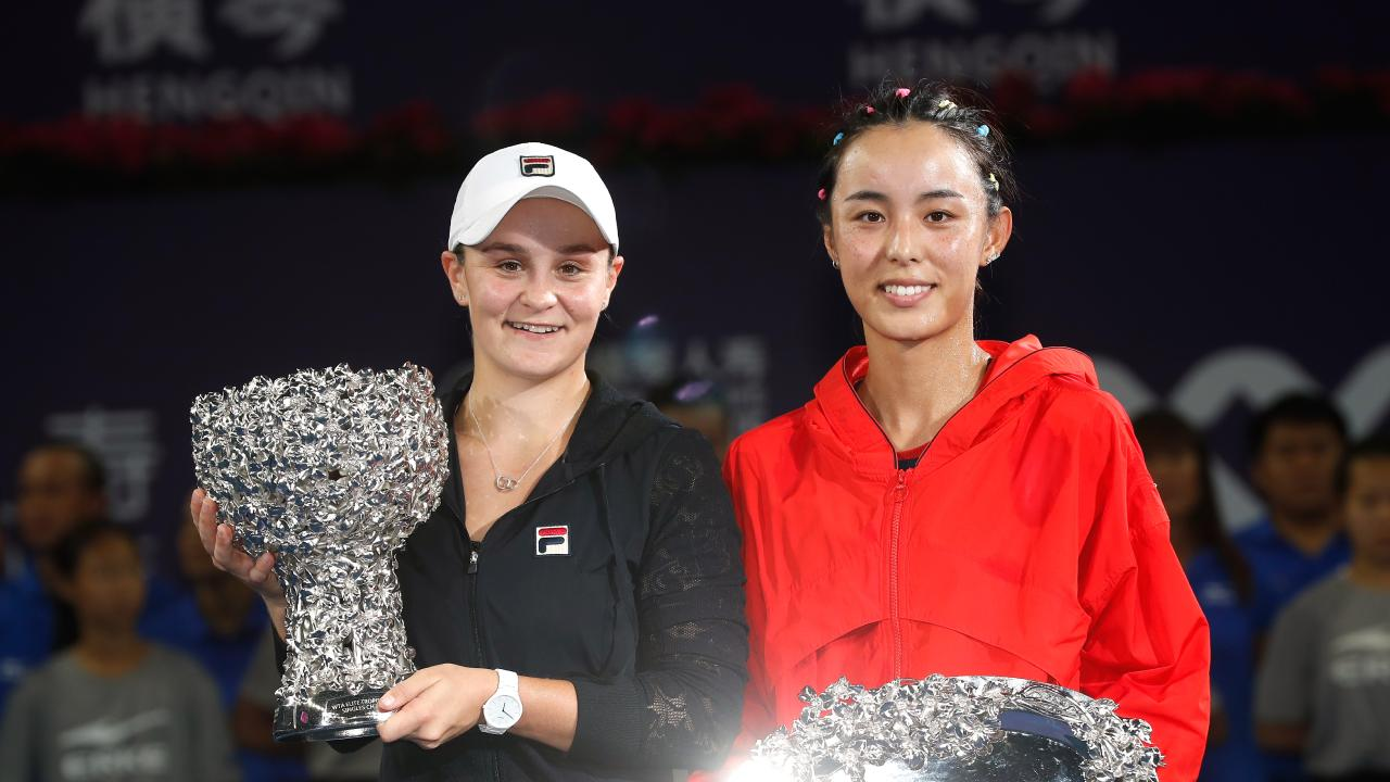 Ashleigh Barty of Australia and Wang Qiang of China.