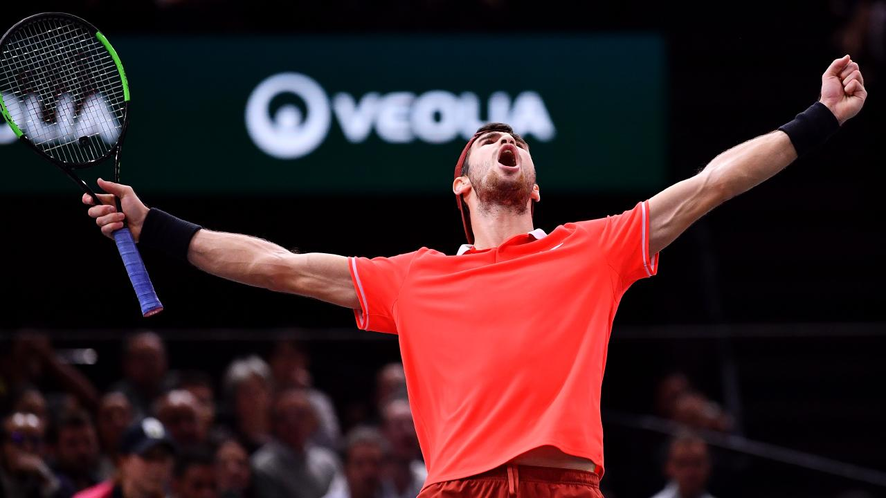 Khachanov celebrates his epic victory. Picture: Getty