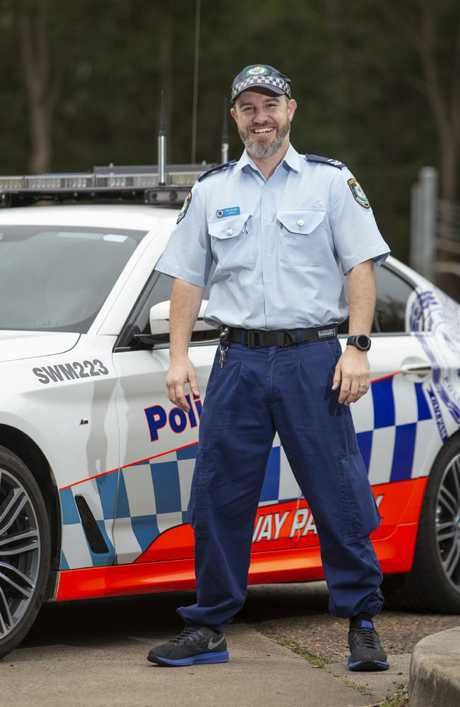 Senior Constable Jonathan Wright lost his foot when he and his partner were hit by a car in Leumeah in February. Picture: Justin Lloyd.