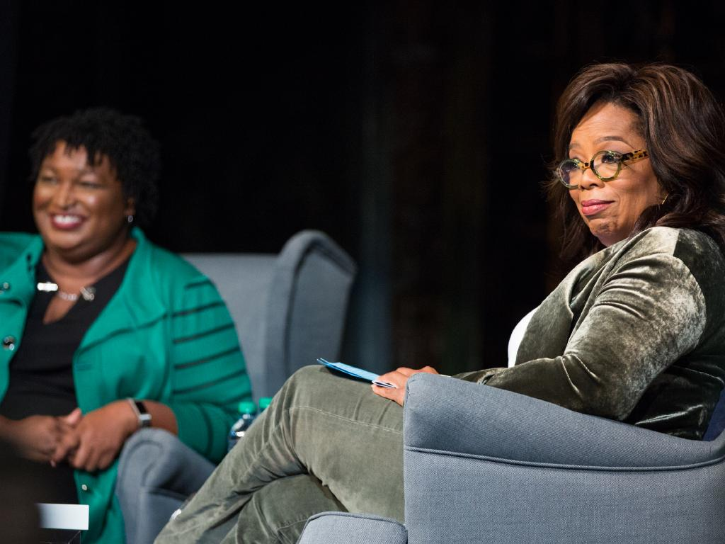Using robocalls, a conservative group is posing as Oprah Winfrey and trying to discredit Stacey Abrams in the mid-term election. Picture: Jessica McGowan/Getty Images