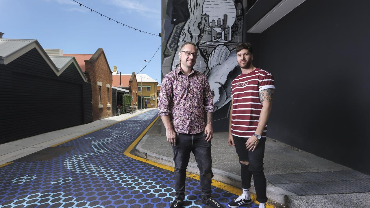 Jonny Garrison and Steve Pelecas will each be opening a new venue in Fish Lane in South Brisbane. Picture: Mark Cranitch.