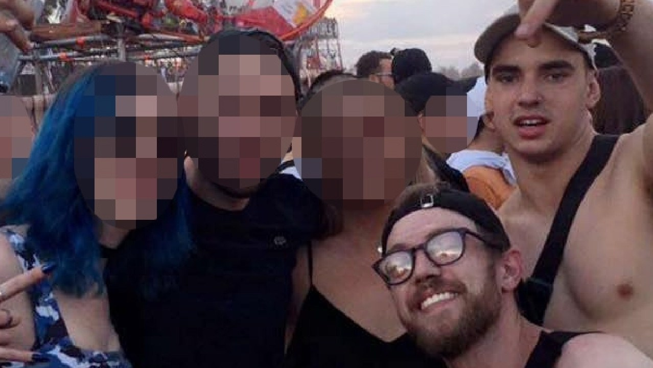 Liam Anderson (bottom right with glasses) was killed in an alleged vicious assault at Queenscliff. His friend, Mathew Flame (top right, gold watch), has been accused of killing him.