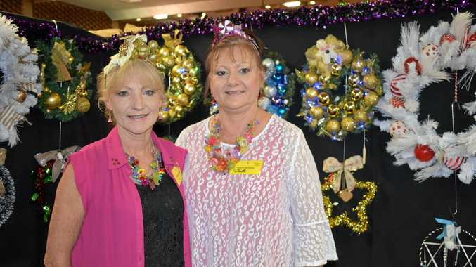 IN THE SPIRIT: Sue Steinhardt and Trish O'Brien at the Christmas in the Country Art and Craft Show in Gatton on Saturday, November 3.