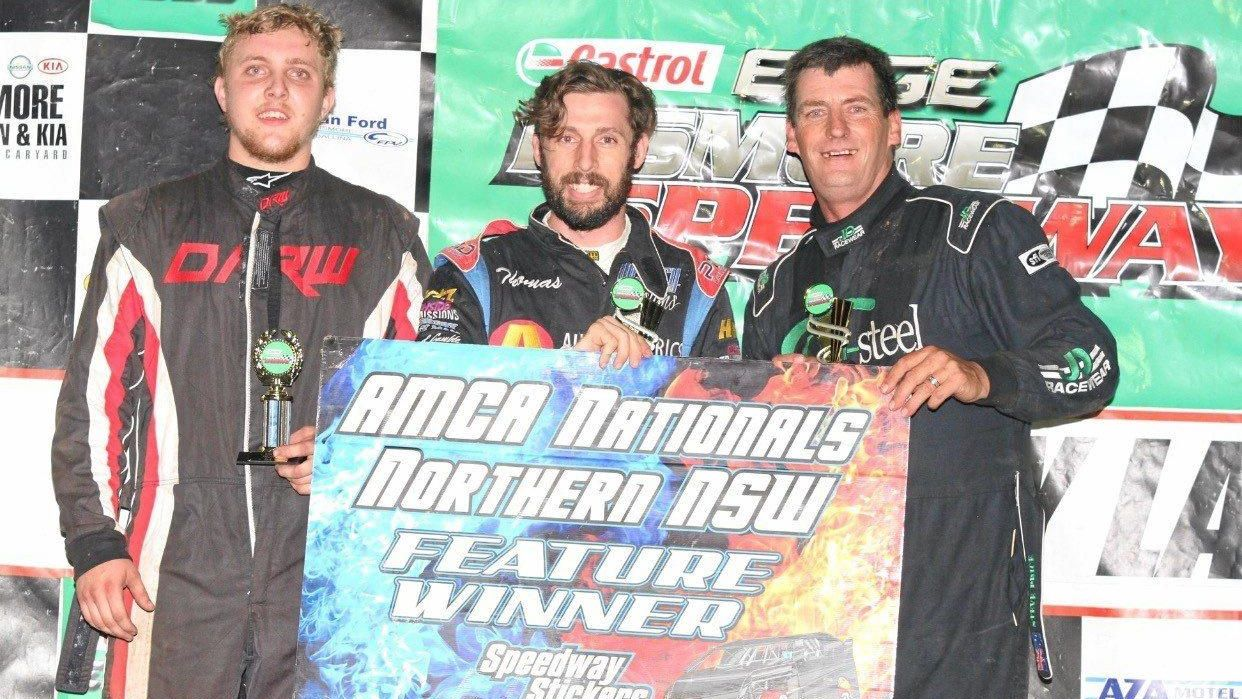 PODIUM: Cody Simmons (left) with Thomas Vickery and Steve Price.