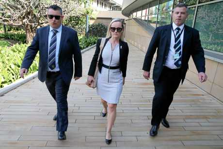 BRAVE: Angela Jay walks into the Inquest into the shooting death of Paul Lambert at Coffs Harbour Courthouse yesterday.