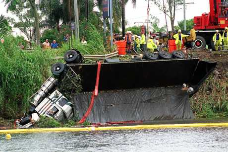 TRAGEDY: The semi-trailer which spilled its precious load of beer into the Tweed River.