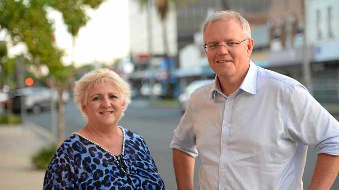 Prime Minister Scott Morrison with Michelle Landry in Rockhampton.
