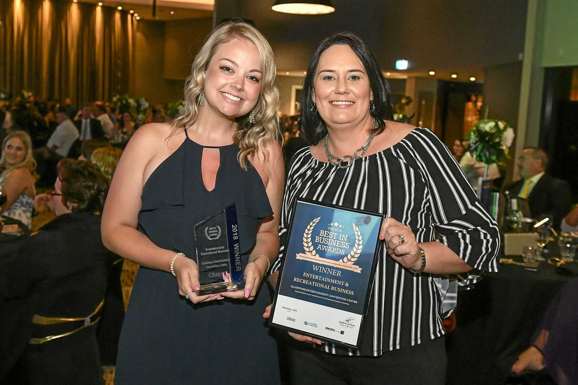 ON THE UP: Gladstone Entertainment Convention Centre venue leader Kim Roberts and Gladstone Regional Council acting general manager of strategy and transformation Carly Quinn at the 2018 Best in Business Awards.