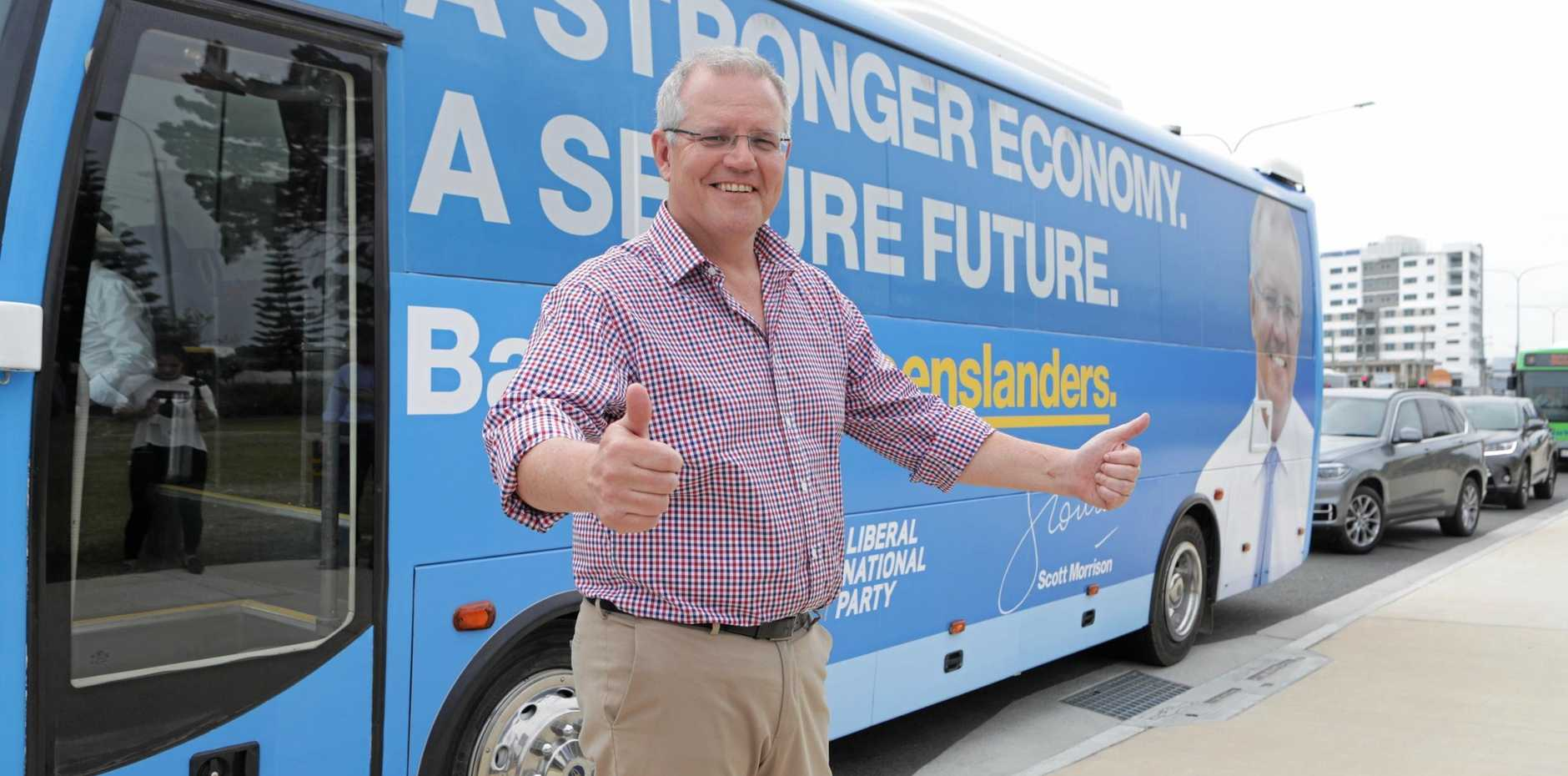 Prime Minister Scott Morrison is pictured during the first day of his blue bus tour in the Gold Coast. He is expected to arrive in Gladstone today.
