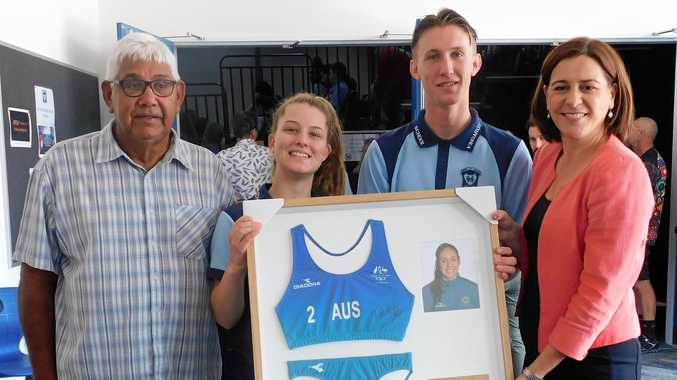 Member for Nanango, Deb Frecklington, has presented a signed Taliqua Clancy Australian swimsuit uniform to Kingaroy State High School. The memorabilia was presented to KSHS students Steven Wheeler and Amy-Louise Kempton and Taliqua's grandfather, RobertClancy.